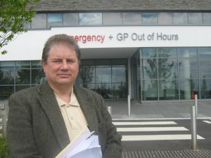 Cllr Enright outside the new Downe Hospital